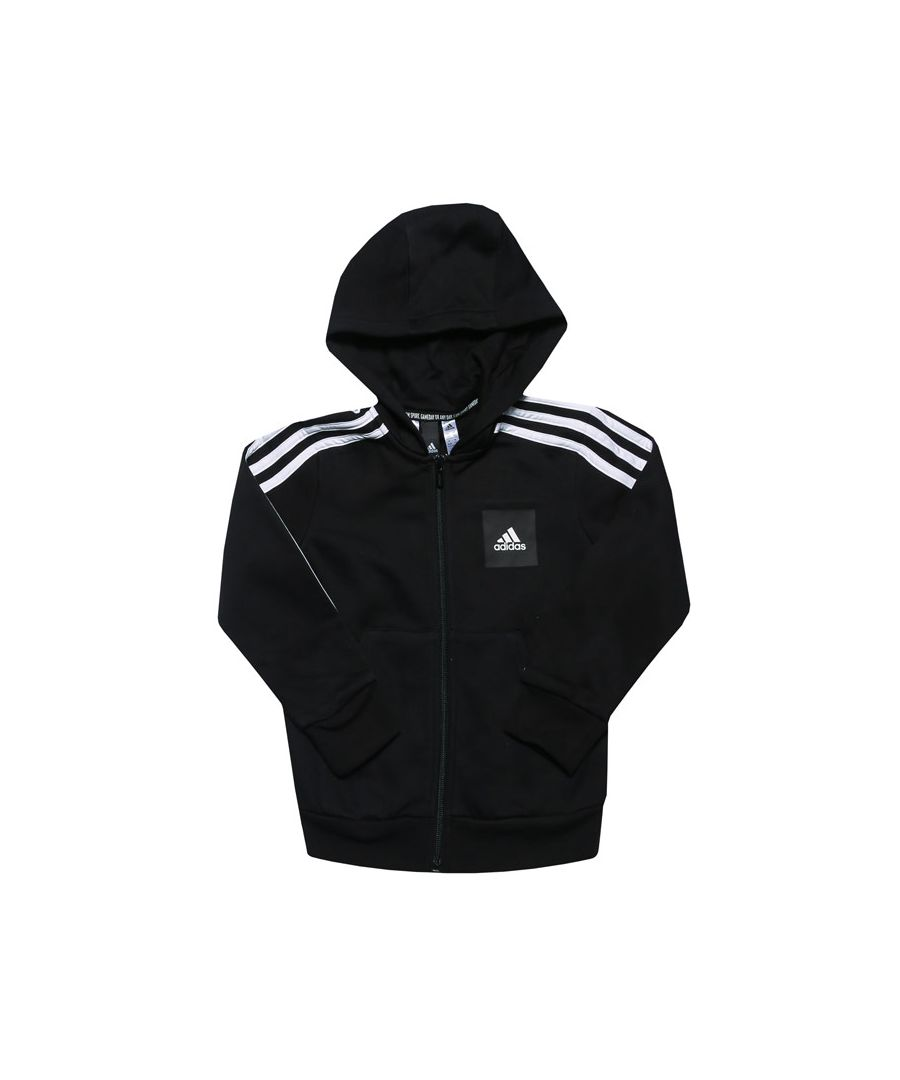 Image for Boys' adidas Infant Must Haves 3-Stripes Zip Hoodie in Black-White