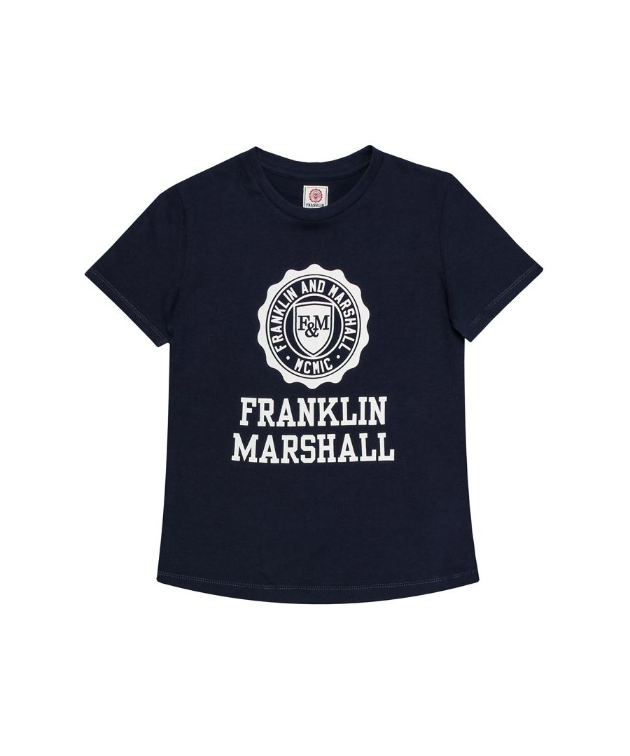 Image for Boy's Franklin And Marshall Junior F and M Logo T-Shirt in Navy