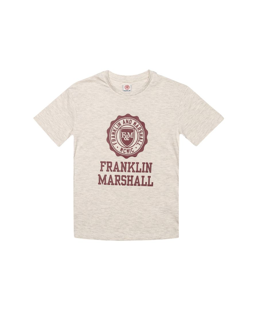 Image for Boy's Franklin And Marshall Junior F and M Logo T-Shirt in Off White