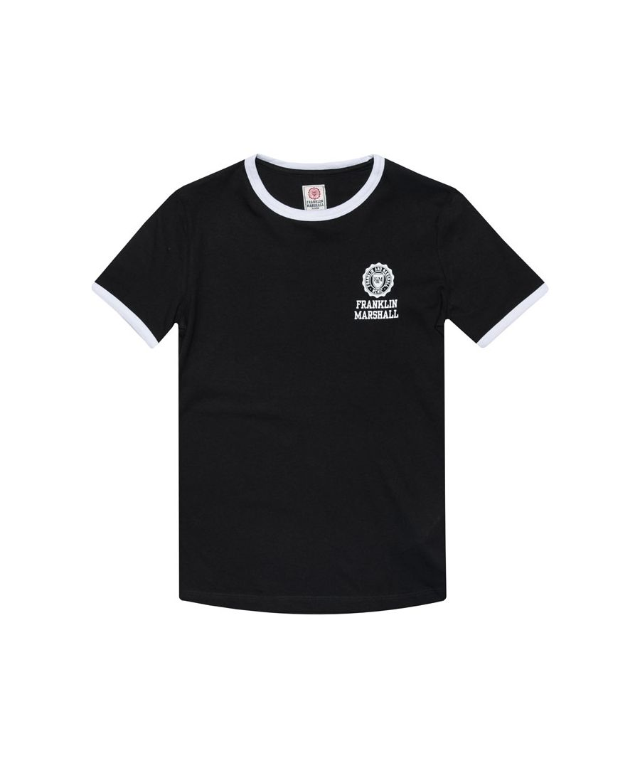 Image for Boy's Franklin And Marshall Junior Retro Logo Ringer T-Shirt in Black