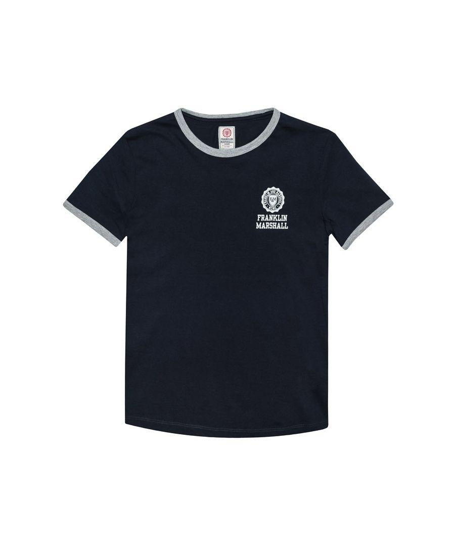 Image for Boy's Franklin And Marshall Junior Retro Logo Ringer T-Shirt in Navy