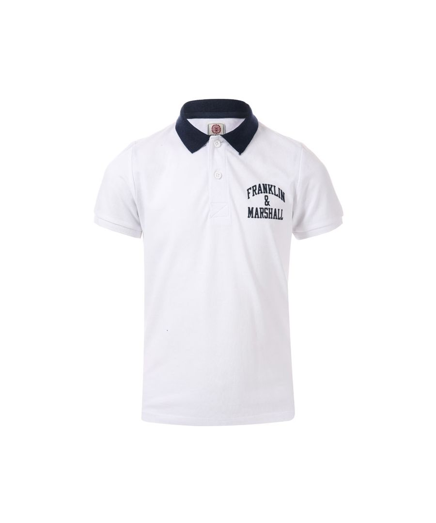 Image for Boy's Franklin And Marshall Junior Core Logo Polo Shirt in White