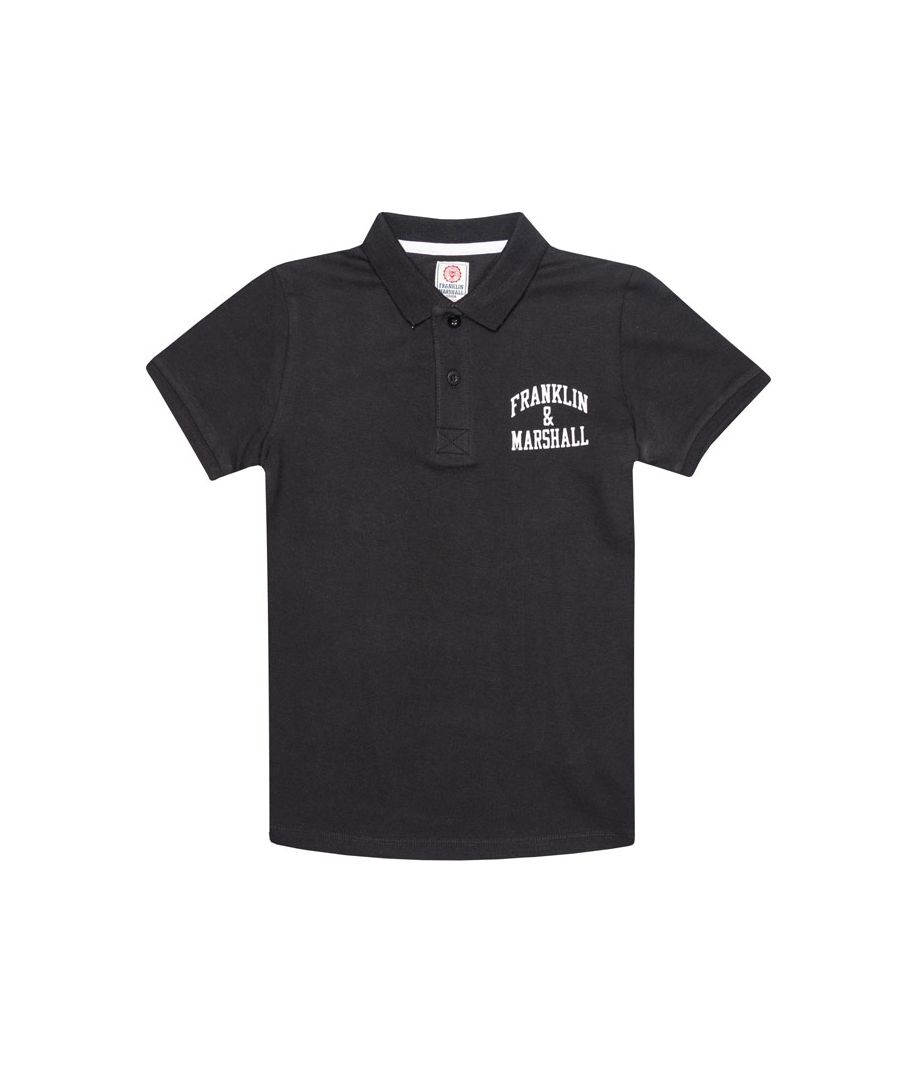 Image for Boy's Franklin And Marshall Junior Core Logo Polo Shirt in Black