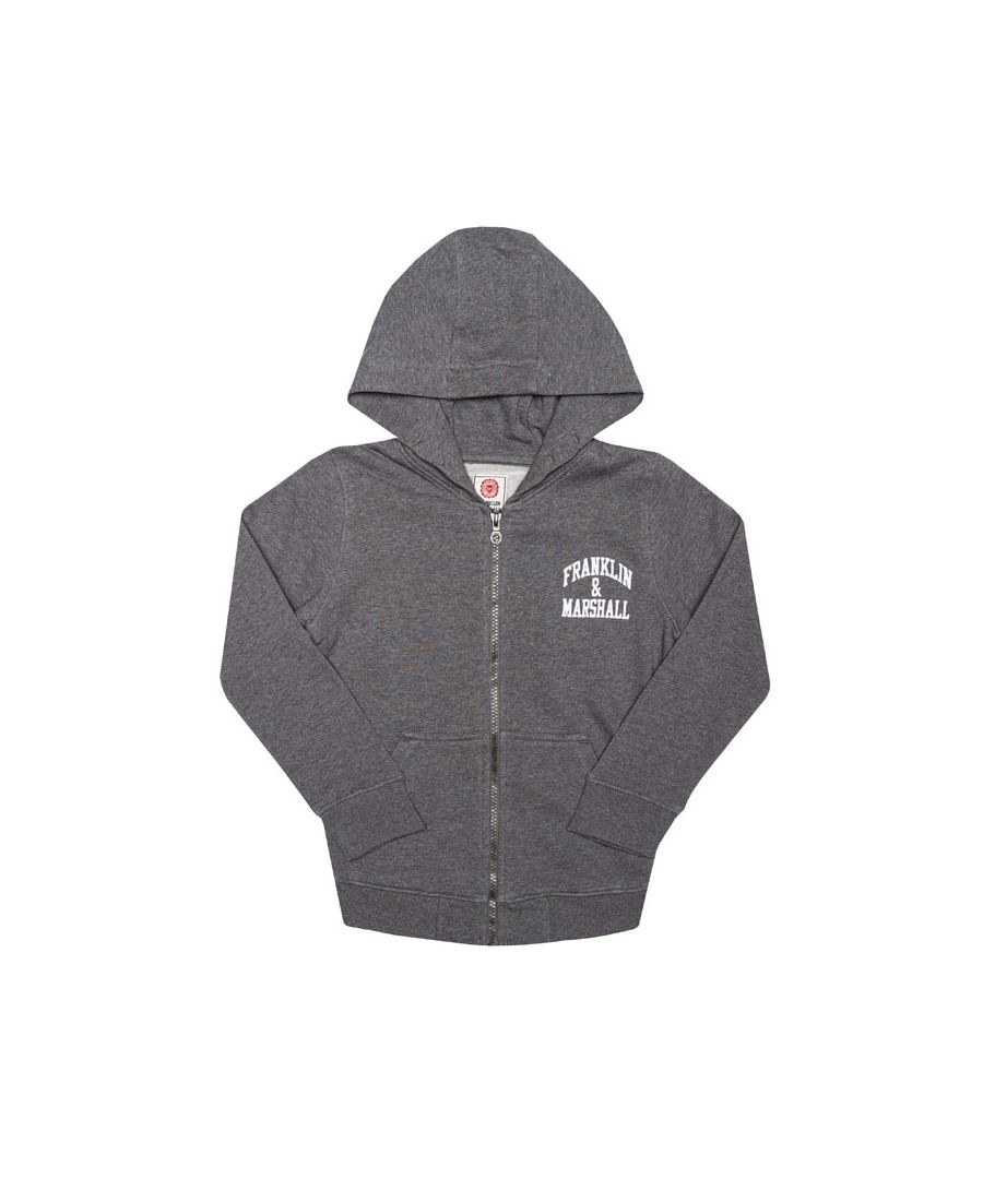 Image for Boy's Franklin And Marshall Junior Badge Logo Zip Hoody in Charcoal