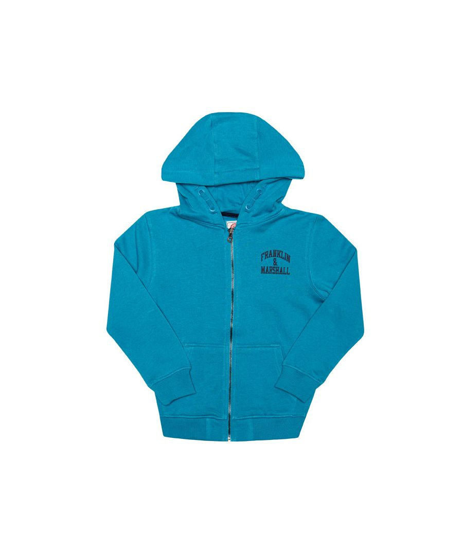 Image for Boy's Franklin And Marshall Junior Badge Logo Zip Hoody in Blue