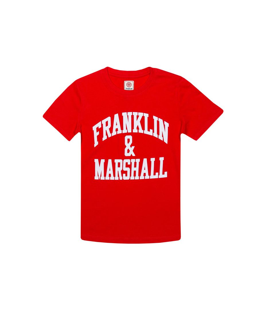Image for Boy's Franklin And Marshall Junior F&M Logo Crew T-Shirt in Red