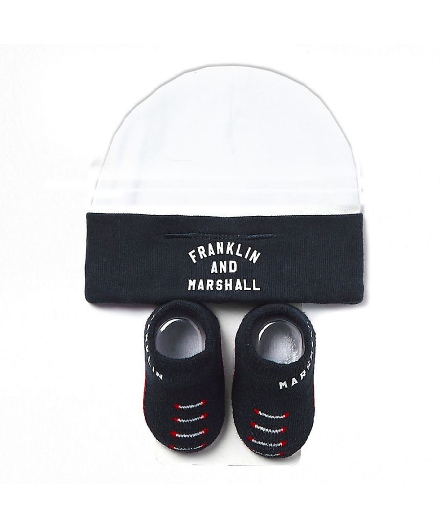 Image for Franklin & Marshall Baby Hat & Bootie Set