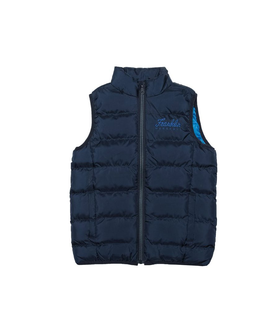 Image for Boy's Franklin And Marshall Junior Fleece Lined Padded Gilet in Navy