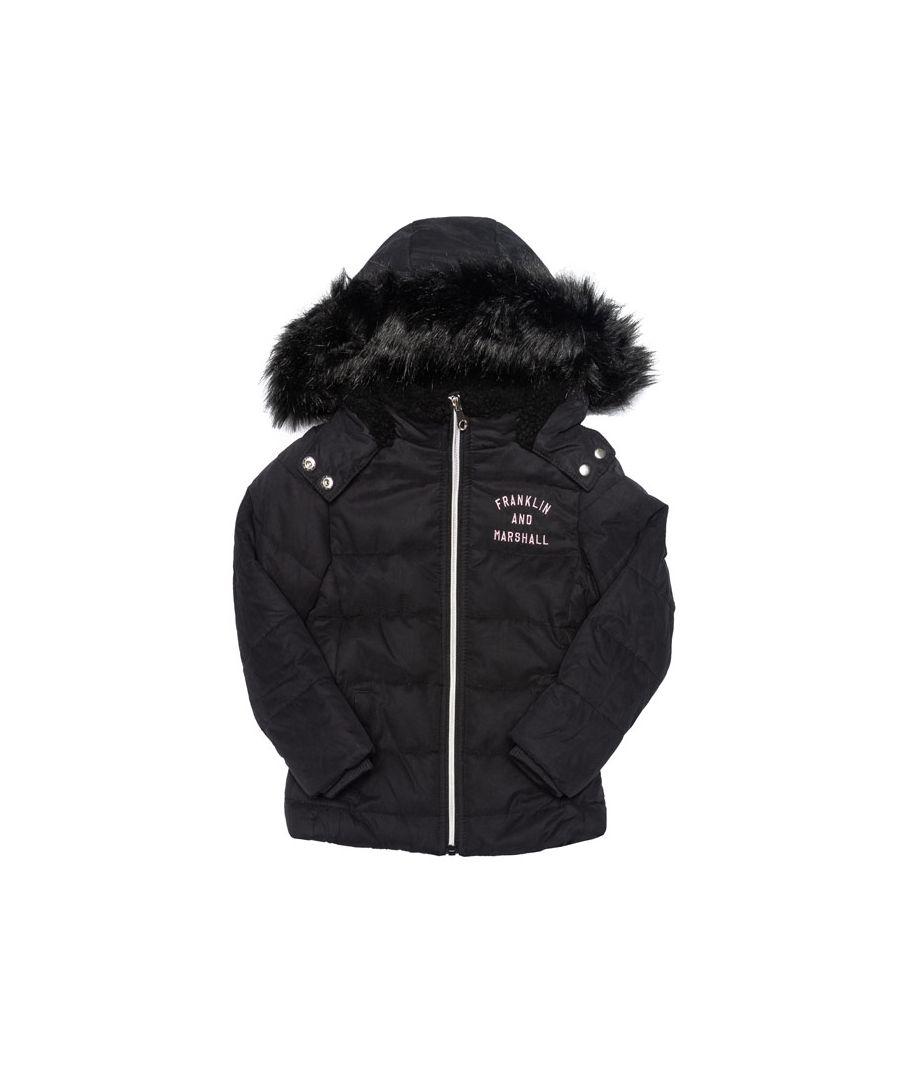 Image for Girl's Franklin And Marshall Junior Fur Hood Parker Jacket in Black