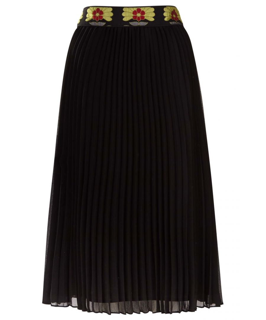 Image for Felicity Floral Pleated Midi Skirt in Black and Green