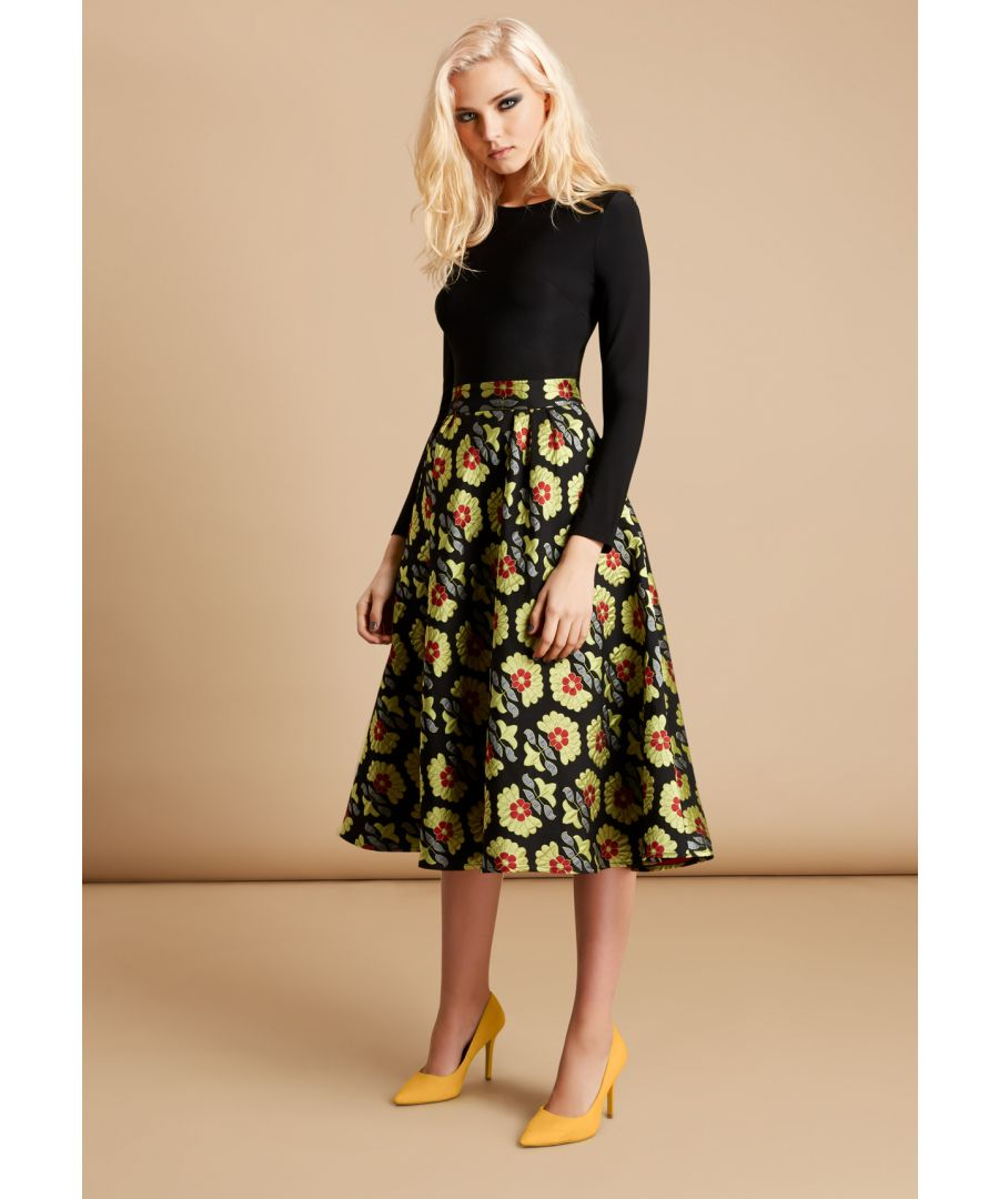 Image for Long Sleeve Floral Midi Dior Dress in Black and Green