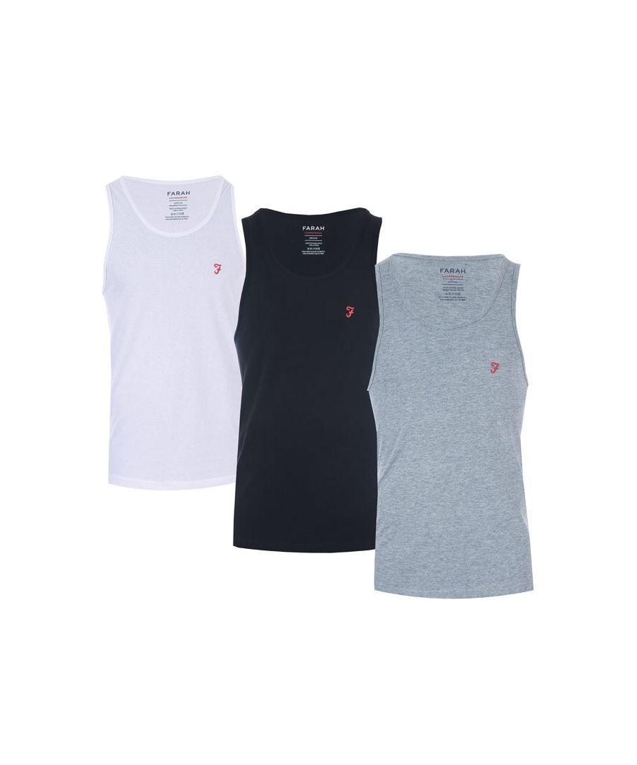 Image for Men's Farah Vestu 3 Pack Vests in Black Grey White