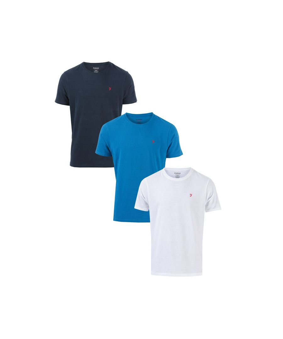 Image for Men's Farah 3 Pack T-Shirts in White Navy