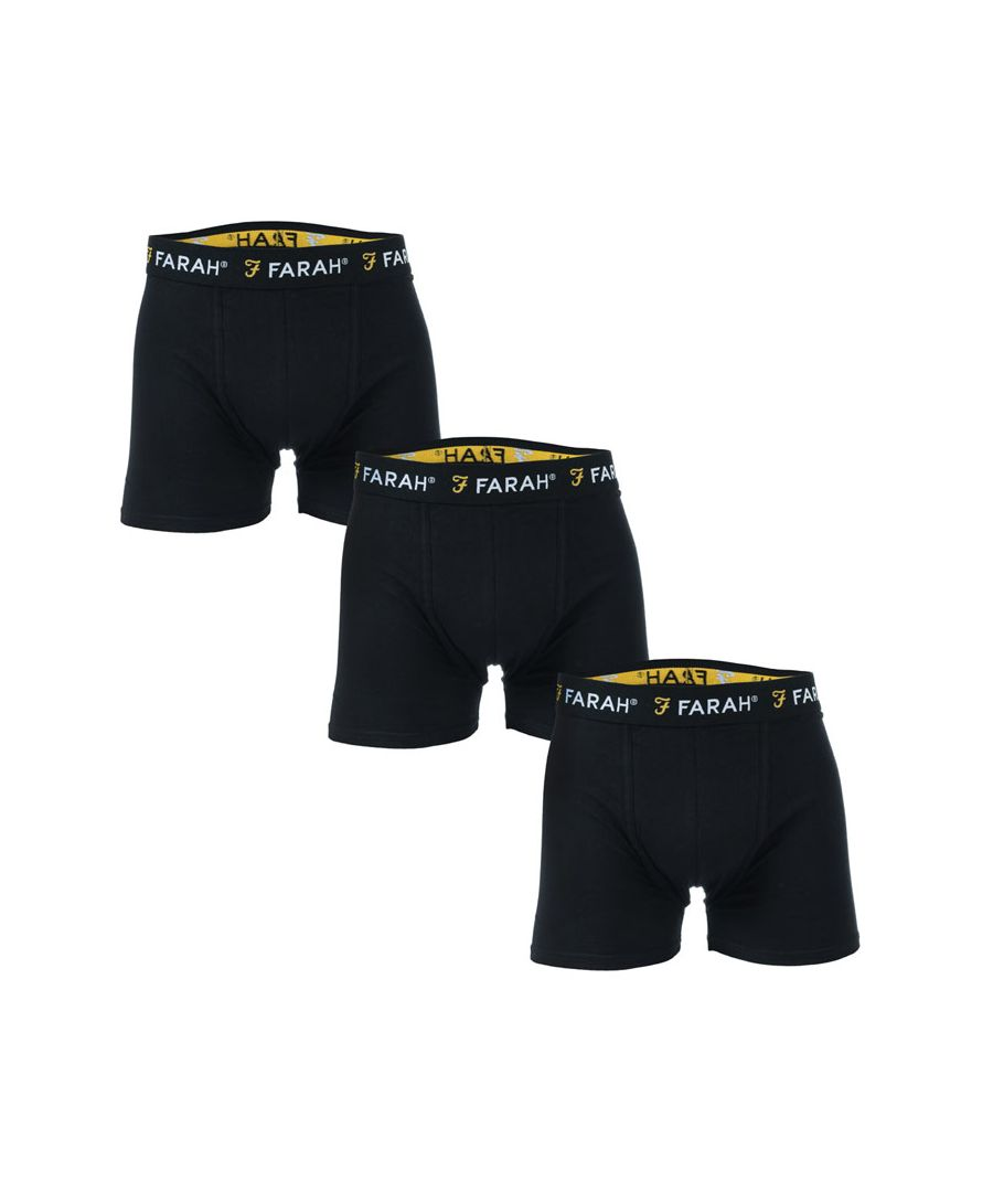 Image for Men's Farah Saiginaw 3 Pack Boxer Shorts in Black