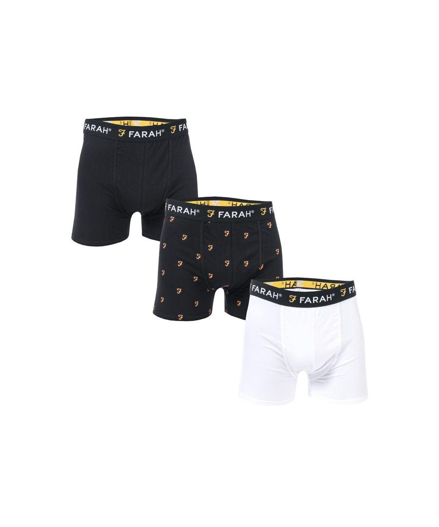 Image for Men's Farah Brayton 3 Pack Boxer Shorts in Black-White