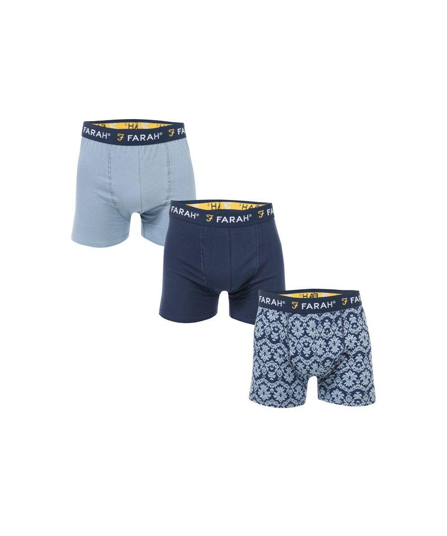Image for Men's Farah Damask 3 Pack Boxer Shorts in Blue