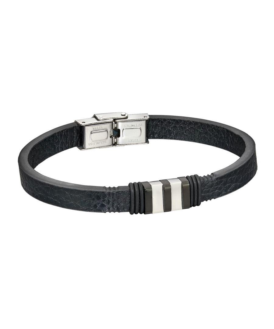Image for Fred Bennett Mens Black Leather & Stainless Steel Clip Clasp Bracelet of Length 21.5cm