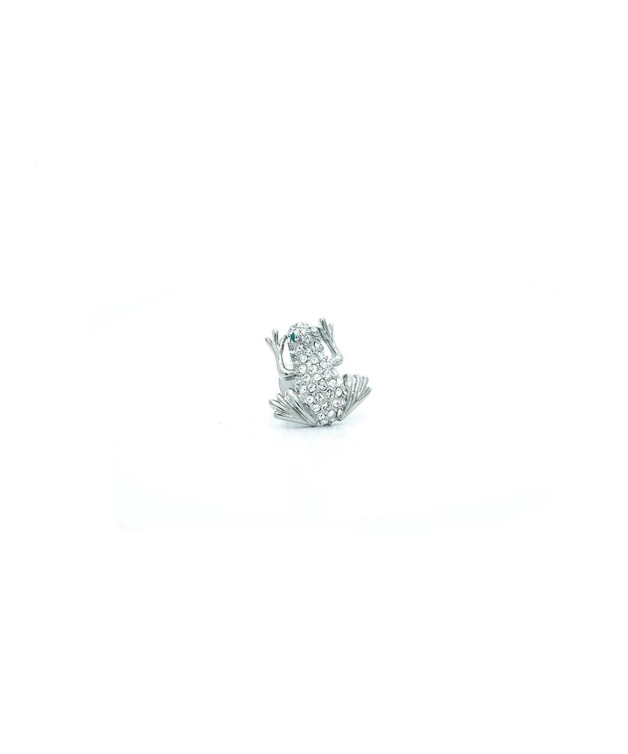 Image for Swarovski Crystal Frog Pin Badge