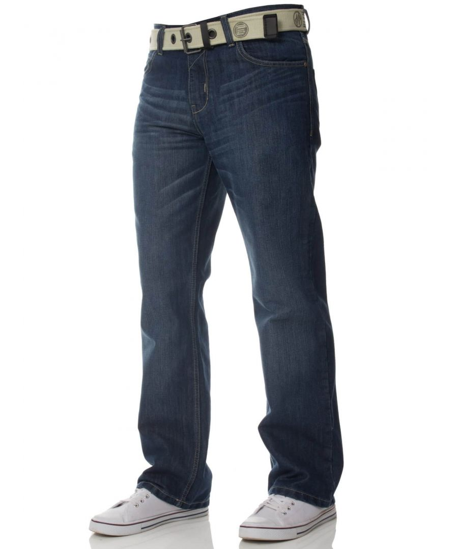 Image for Mens Mid Wash Jeans with Belt EZ15 | Enzo Designer Menswear