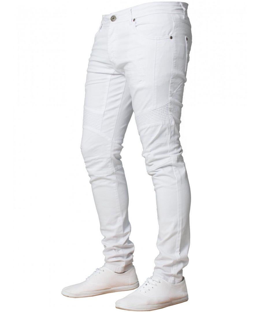 Image for Enzo Men's Super Skinny Stretch Biker Denim Jeans