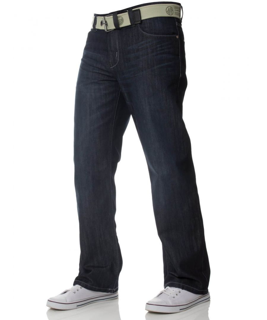 Image for Mens Dark Blue Jeans with Belt EZ14 | Enzo Designer Menswear
