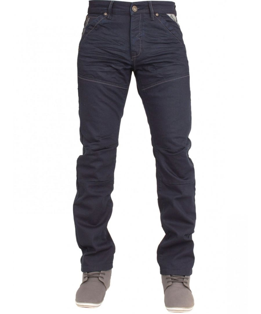 Image for Mens Navy Regular Fit Denim Jeans EZ329 | Enzo Designer Menswear