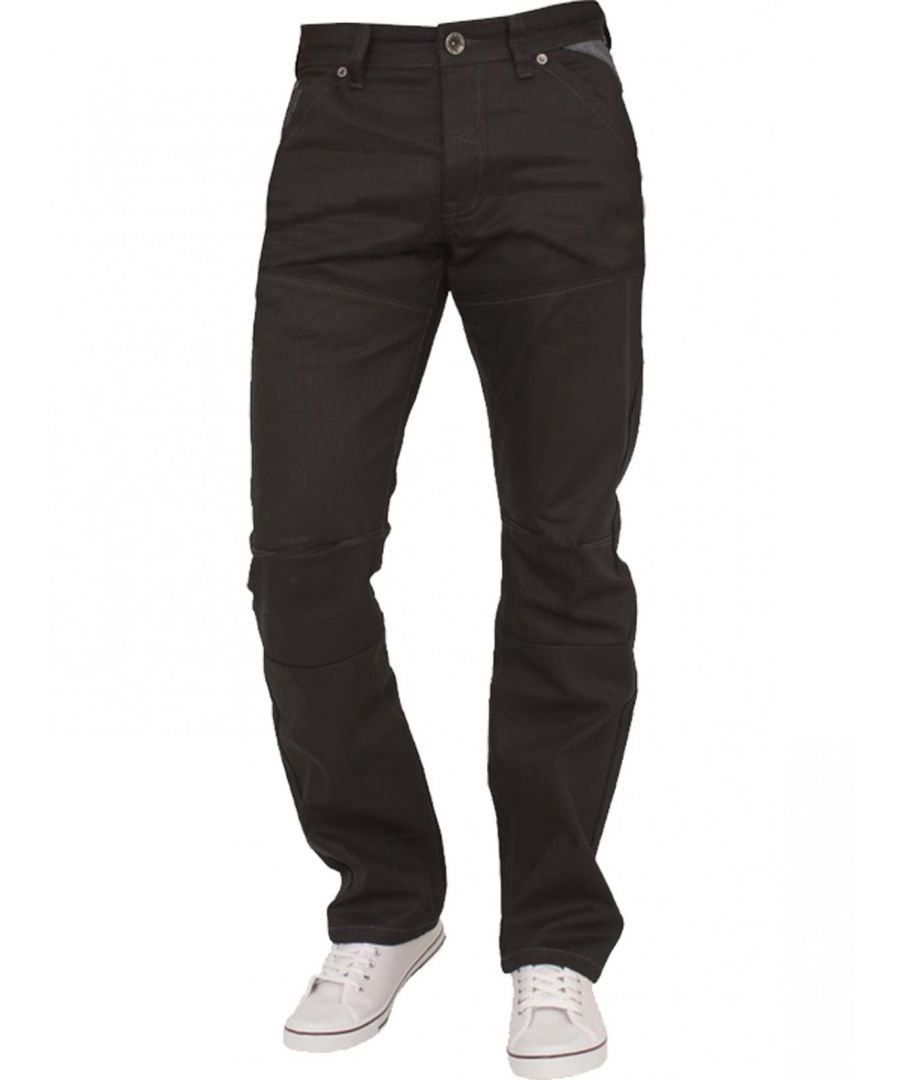 Image for Mens Black Regular Fit Denim Jeans EZ329 | Enzo Designer Menswear