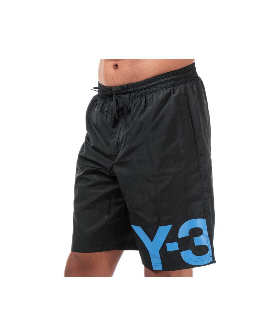 Image for Men's Y-3 Large Logo Swim Shorts in black blue