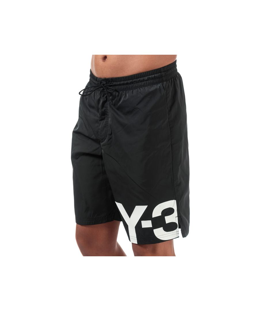 Image for Men's Y-3 Large Logo Swim Shorts in Black-White