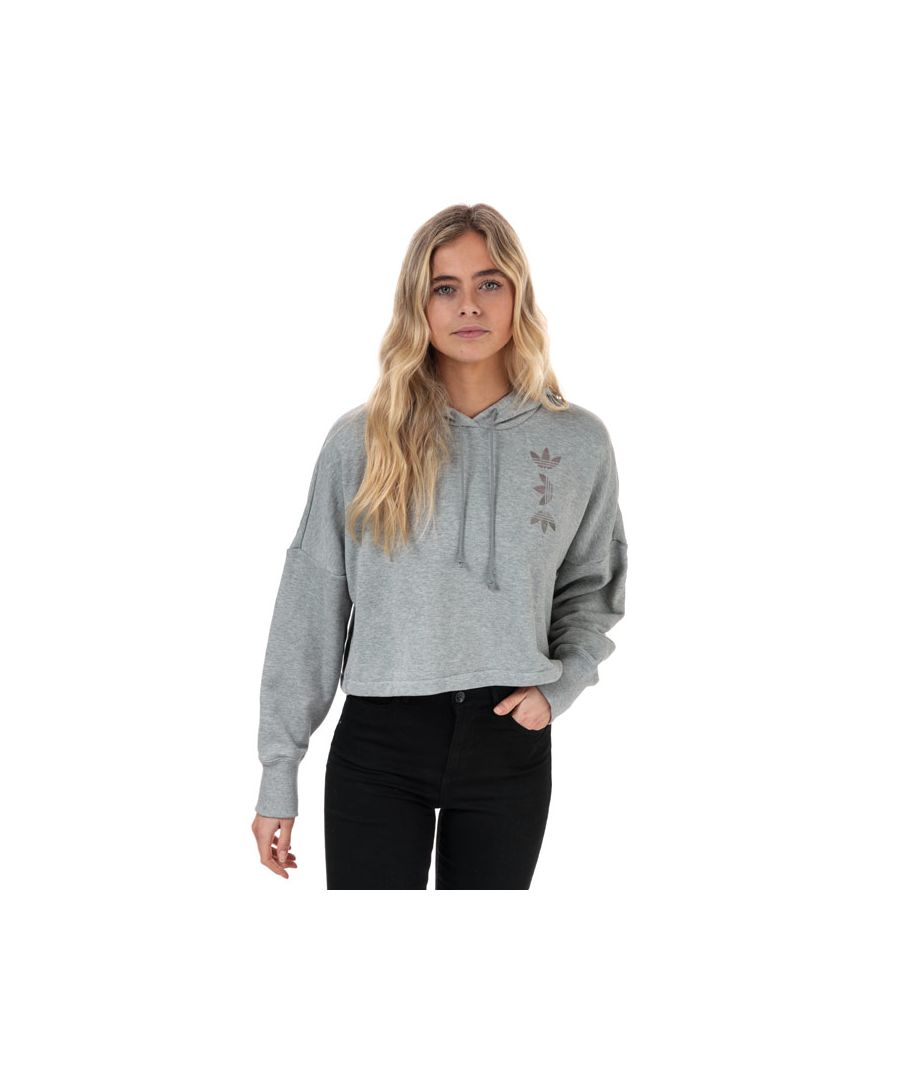 Image for Women's adidas Originals Large Logo Cropped Hoody in Grey Marl