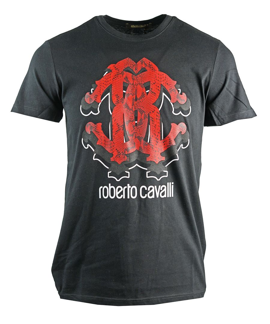 Image for Roberto Cavalli Faded Red Logo Black T-Shirt