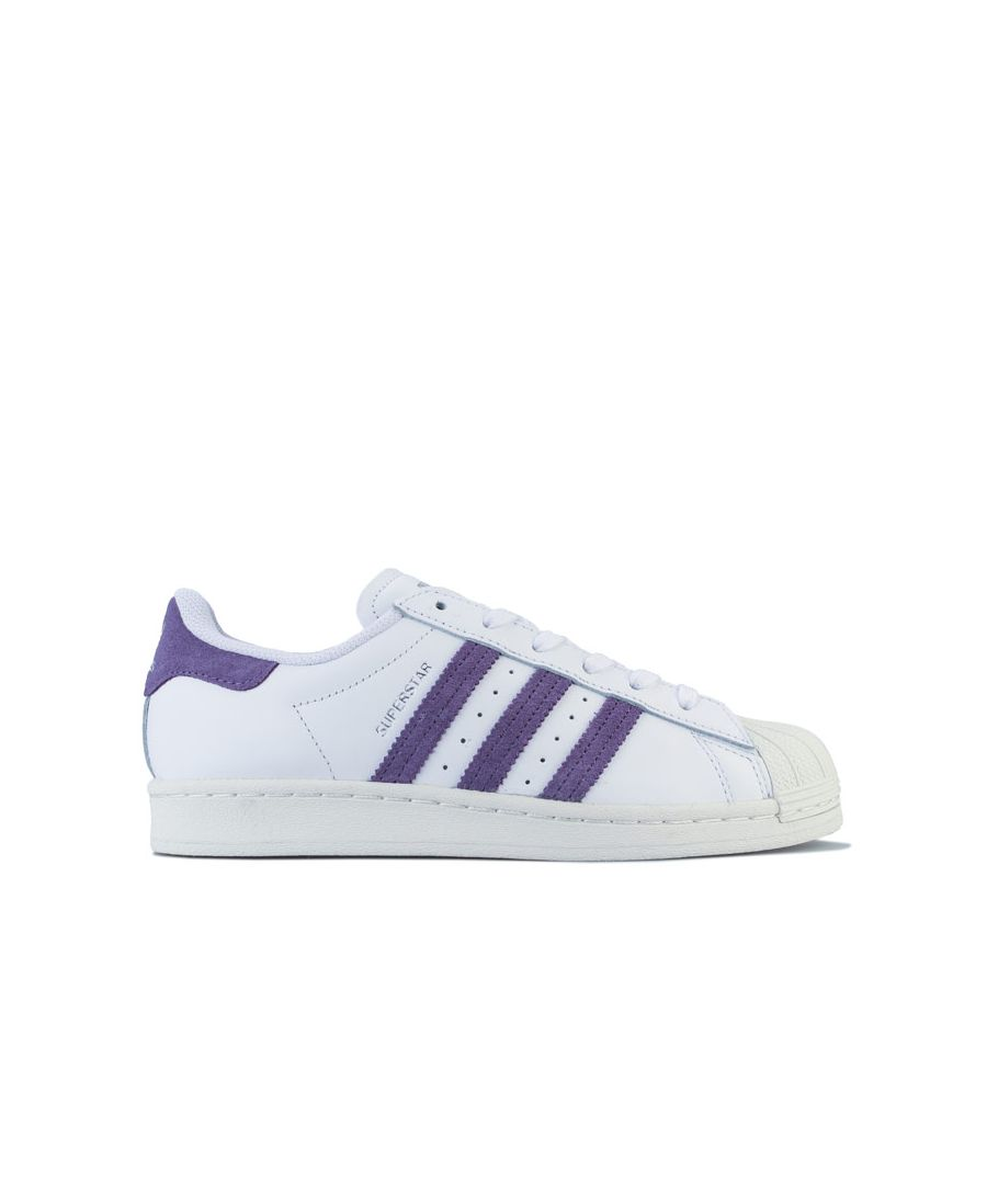 Image for adidas Originals Superstar Trainers in White Purple