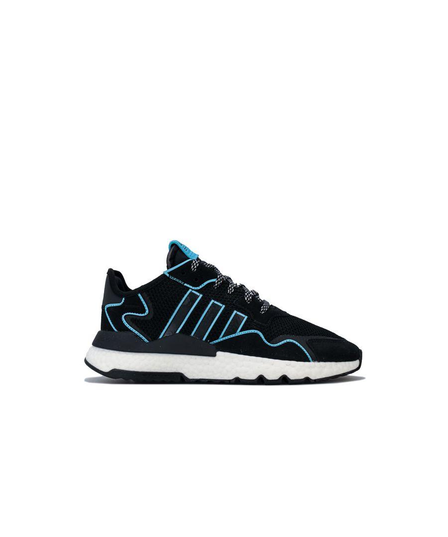 Image for Men's adidas Originals Nite Jogger Trainers in black blue