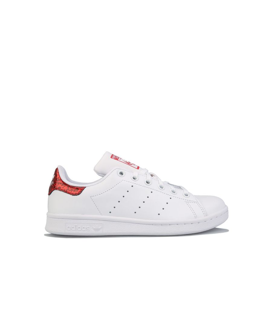 Image for Girl's adidas Originals Junior Stan Smith Trainers White red UK 3.5in White red