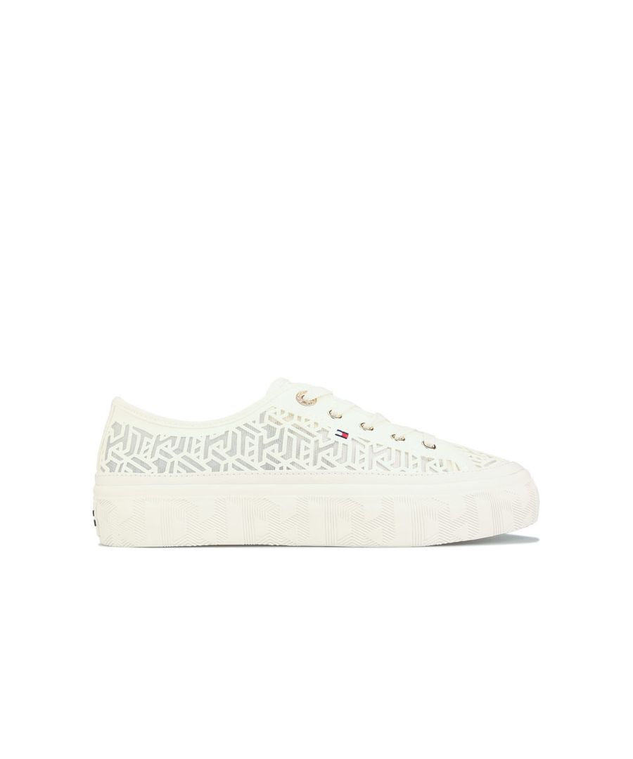 Image for Women's Tommy Hilfiger Monogram Flatform Trainers in White