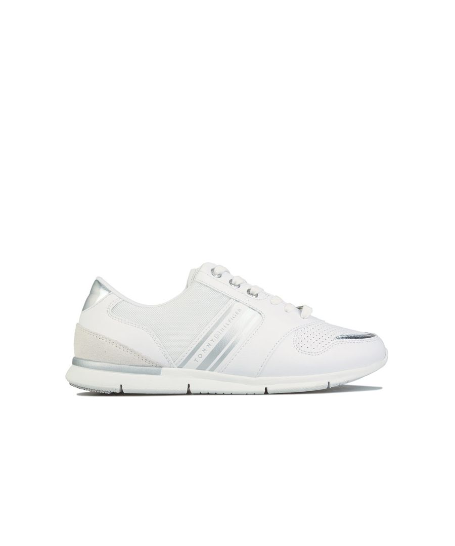 Image for Women's Tommy Hilfiger Metallic Lightweight Trainers in White silver