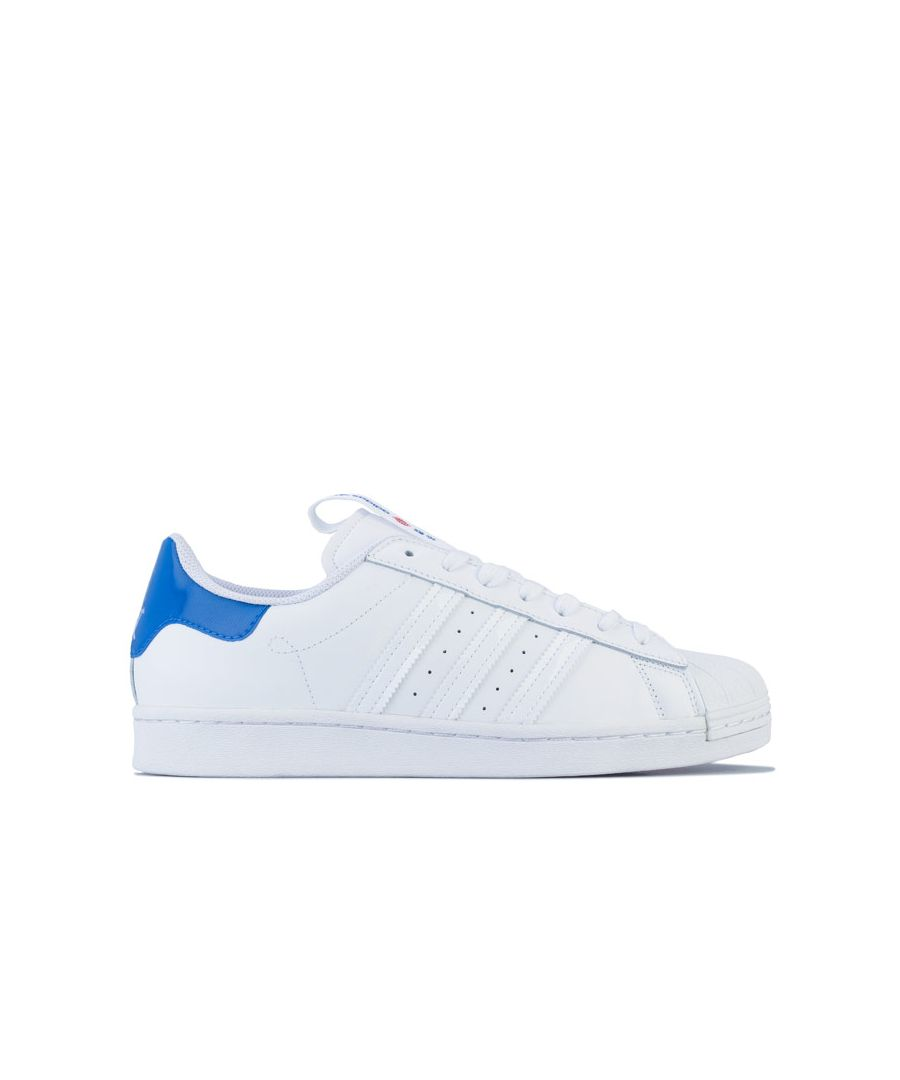 Image for Men's adidas Originals Superstar Trainers in White blue