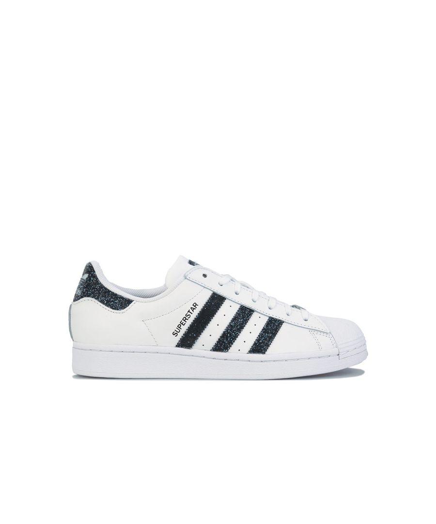 Image for adidas Originals Superstar Swarovski Trainers in White Black