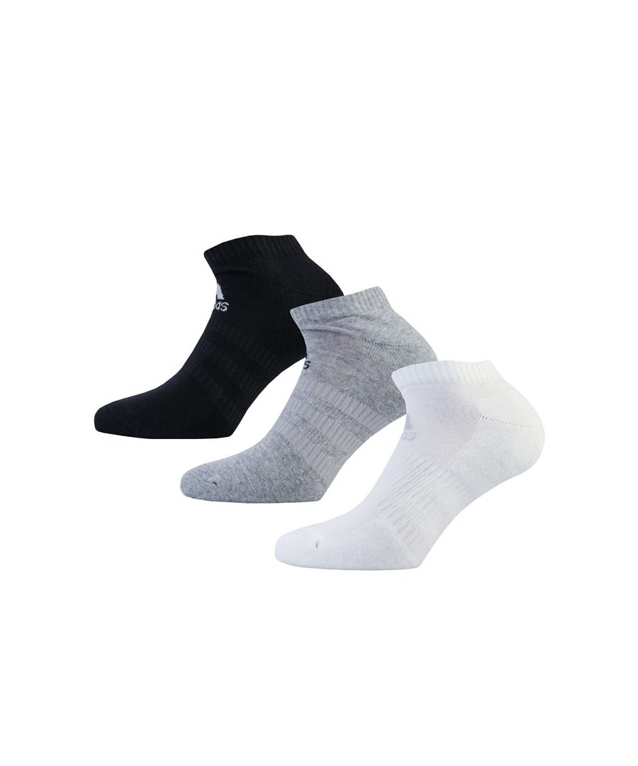 Image for Men's adidas 3-Pack Cushioned Low-Cut Socks in Black Grey White