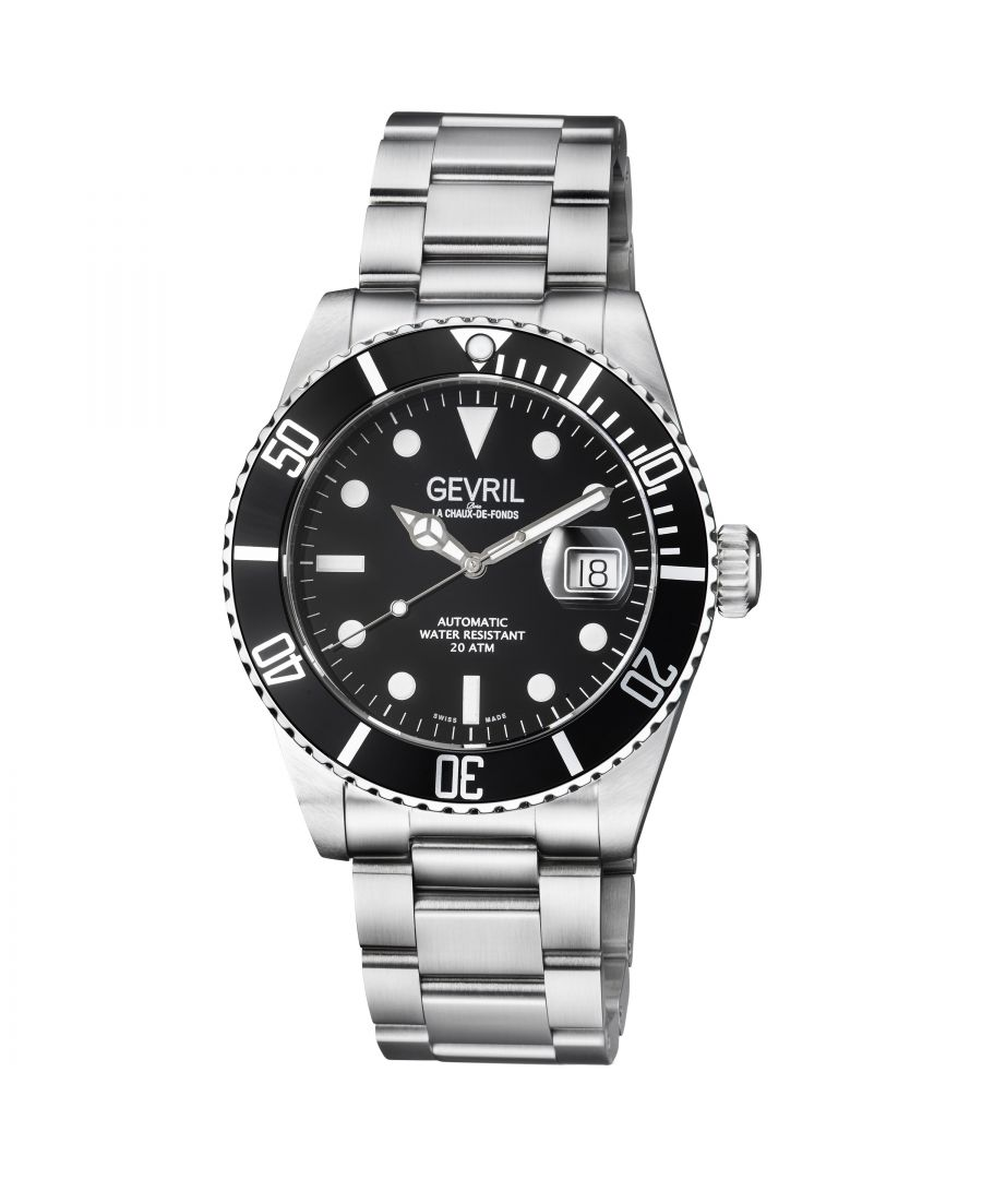 Image for Gevril Wall Street Mens Swiss Automatic Black Dial Stainless Steel Bracelet Watch