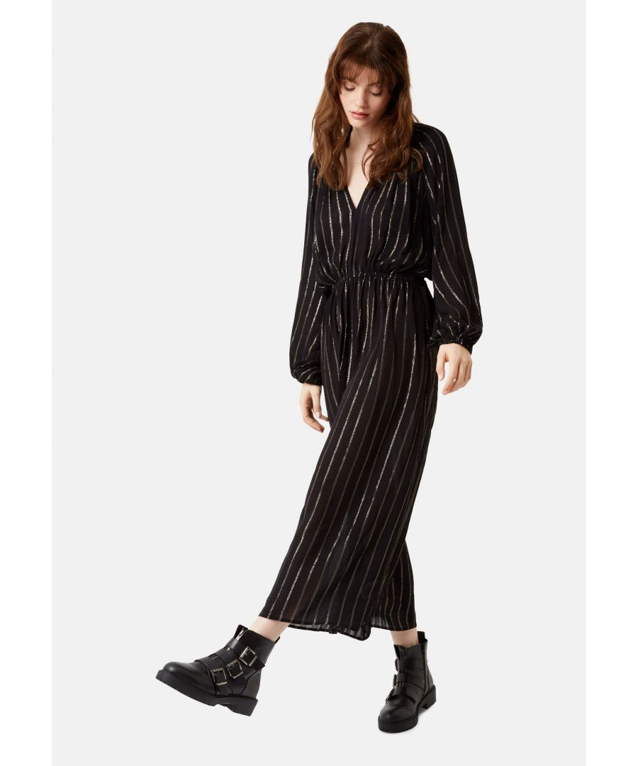 Image for Callous Metallic Stripe V-Neck Midi Dress in Black