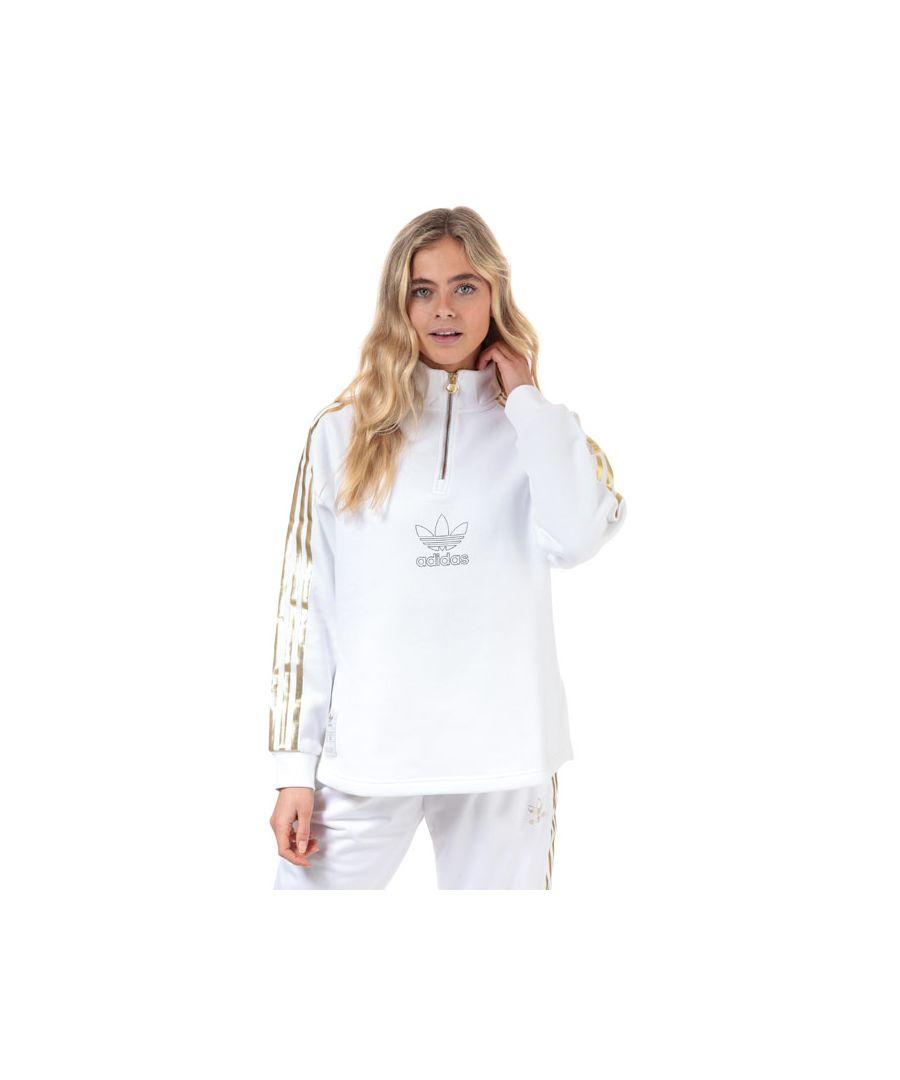Image for Women's adidas Originals Quarter Zip Sweatshirt in White