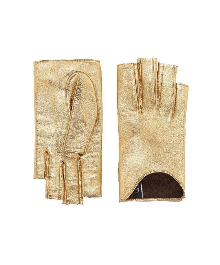 Image for Gucci Metallic Gold Leather Gloves