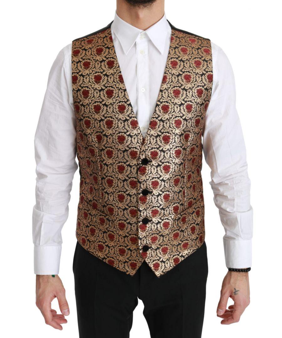 Image for Dolce & Gabbana Gold Brocade Waistcoat Formal Polyester Vest