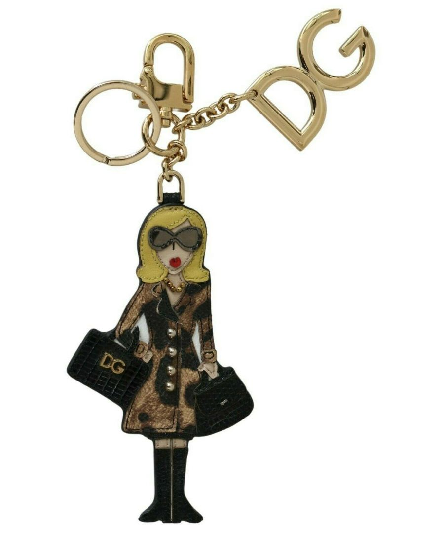 Image for Dolce & Gabbana Gold Leather Shopper #DGFAMILY Logo Badge Keychain