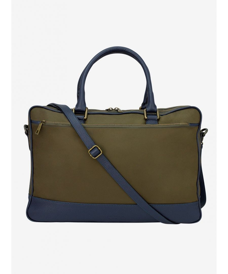 Image for Leather Trimmed Nylon Briefcase Green