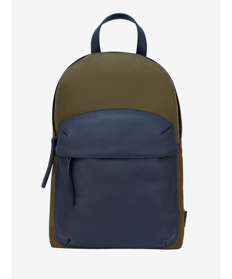 Image for Leather Trimmed Nylon Backpack Green
