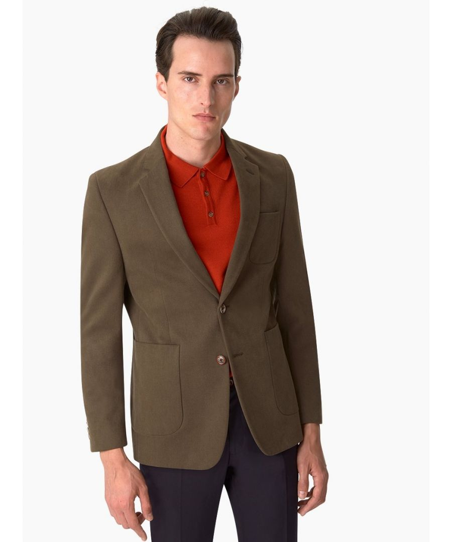 Image for Notch Lapel Cotton Twill Jacket Green