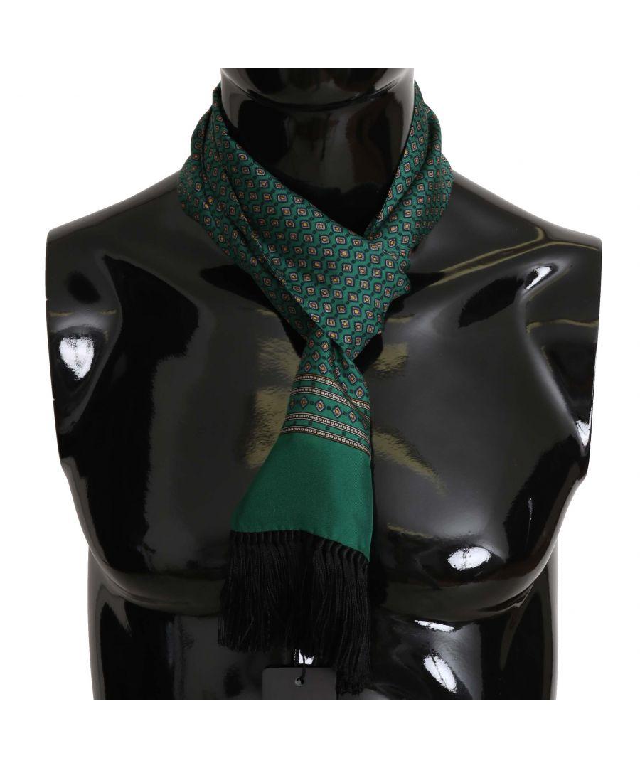 Image for Dolce & Gabbana Green Baroque Tassel Mens Silk Scarf