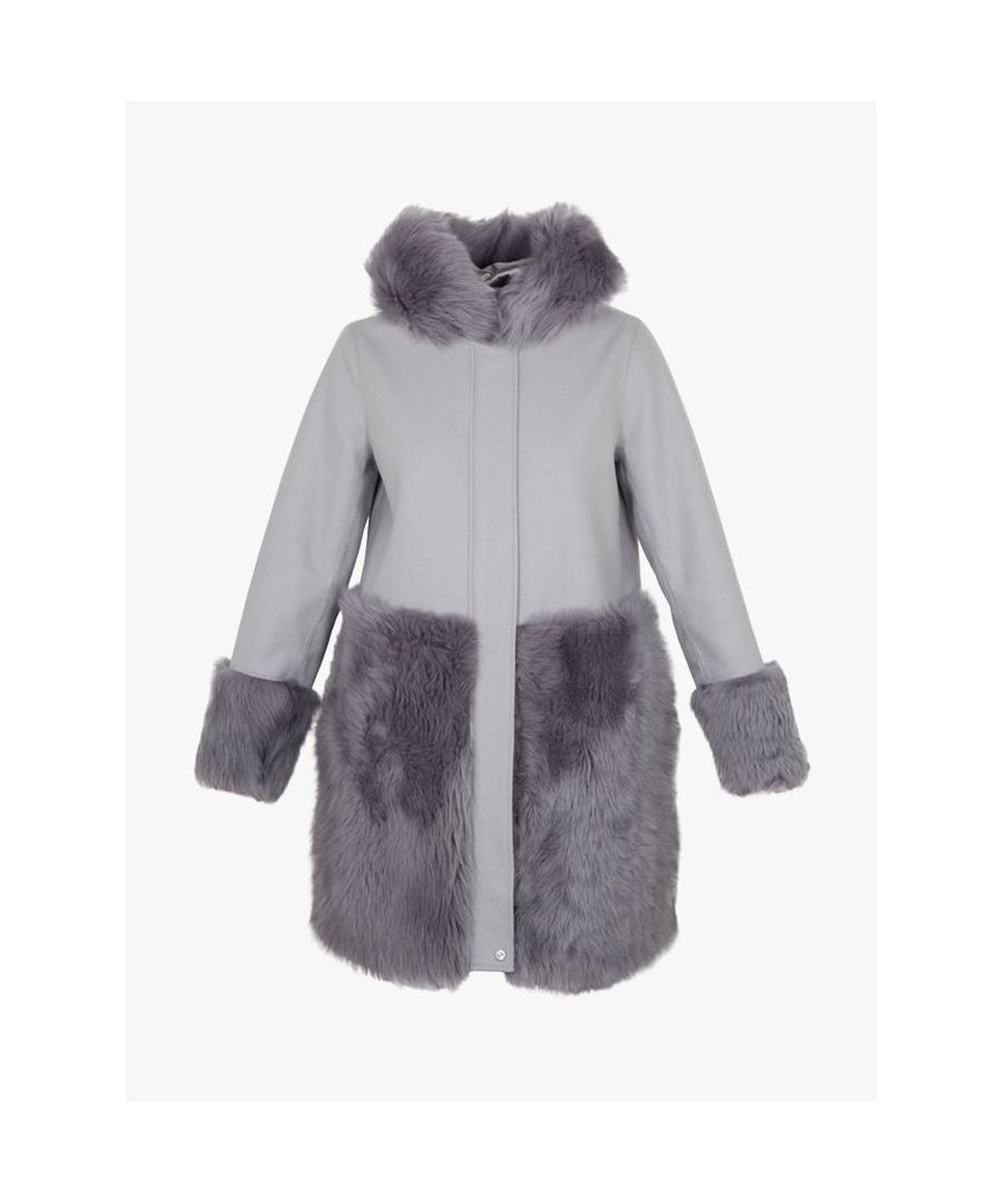 Image for Ted Baker Zaraah Shearling Detail Parka Coat, Grey